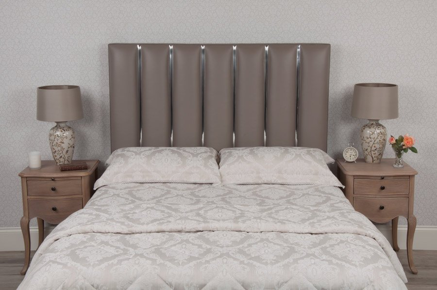 Beige Chrome Flutes Real Genuine Leather Headboard