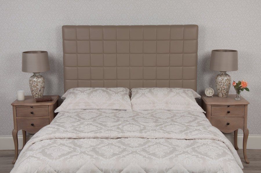 White Quilted Padded Real Genuine Leather Headboard