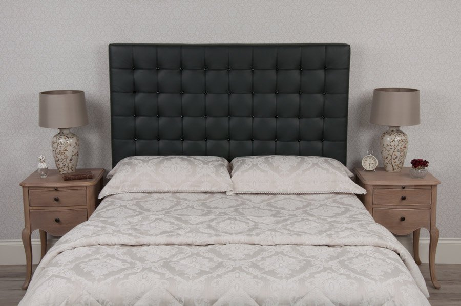 Black Barcelona Crystal Real Genuine Leather Headboard