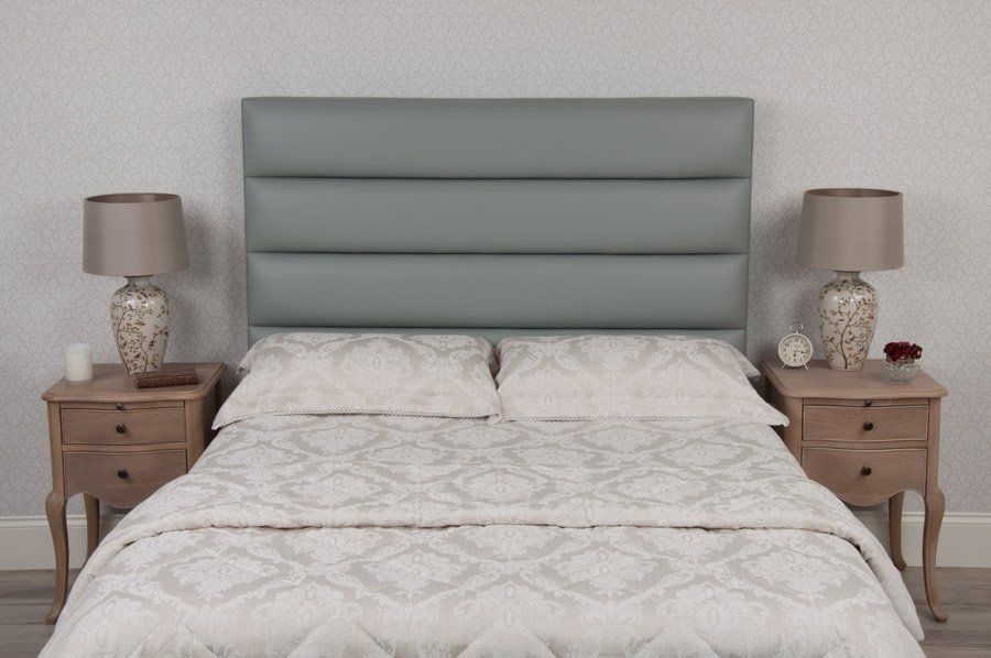Grey Tubes Real Genuine Leather Headboard