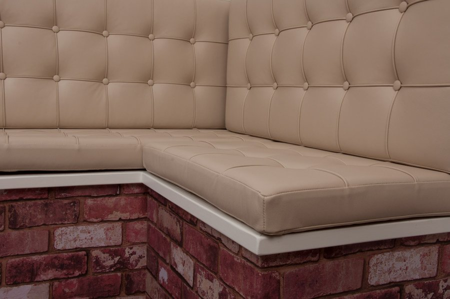 Barcelona Buttoned Tufted Seat Back Real Genuine Bespoke Made To Measure Leather Cushion