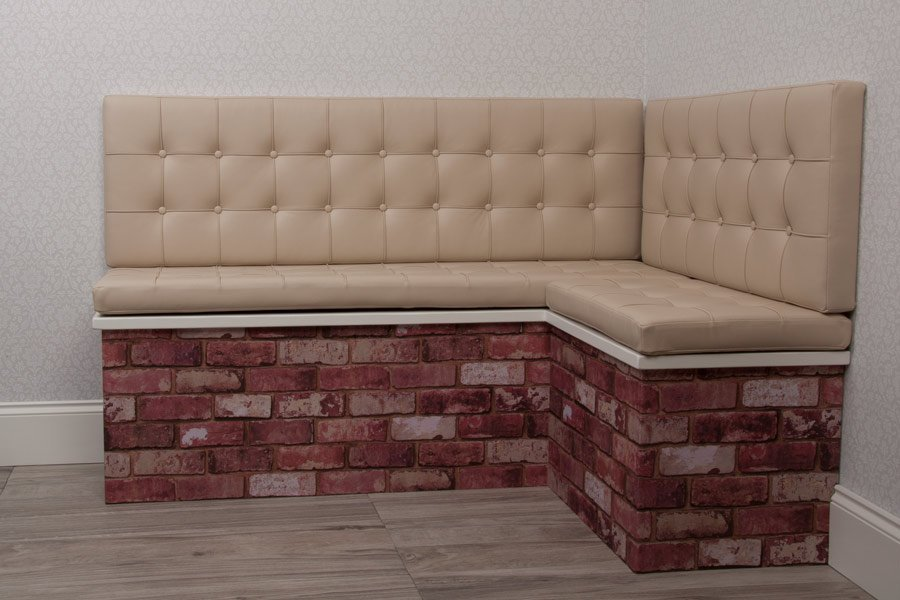 Cream Genuine Real Buttoned Studded Padded Seat Back Box Made To Measure Leather Cushions