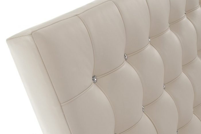 Cream White Crystal Barcelona Tufted Buttoned Real Genuine Leather Headboard