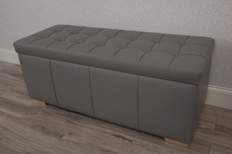 Real Leather Ottoman Bed Storage Blankets Box Love Leather