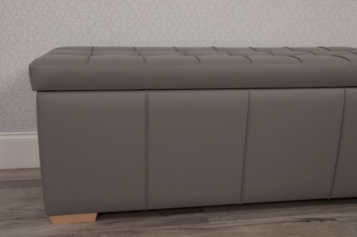 Taupe Grey Real Genuine Leather Storage Chest Trunk Ottoman