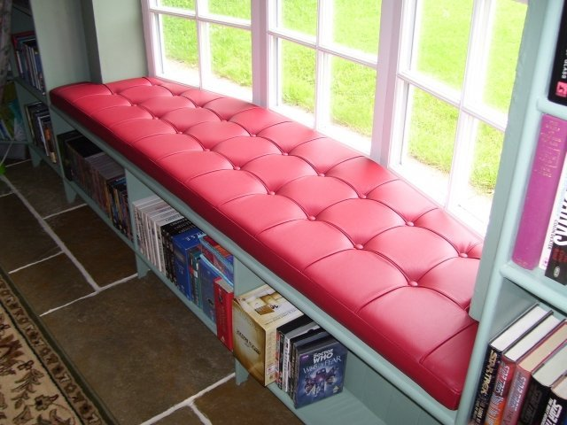 Red Leather Window Seat Cushion