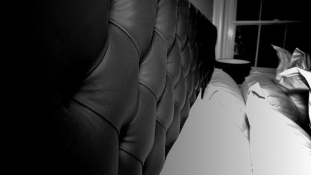 Black Chesterfield Studded Leather Headboard