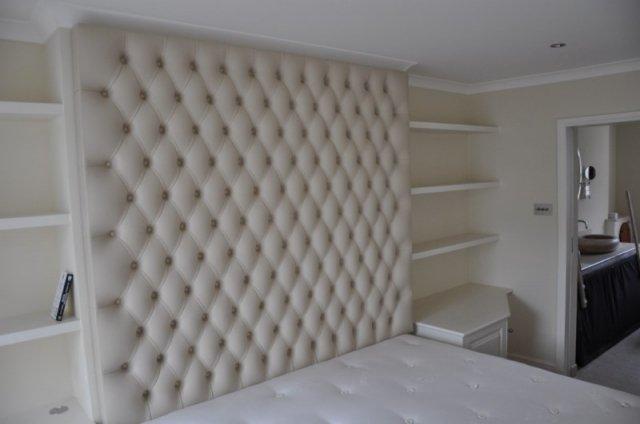 Large Bespoke Button Studded Wall Mounted Leather Headboard