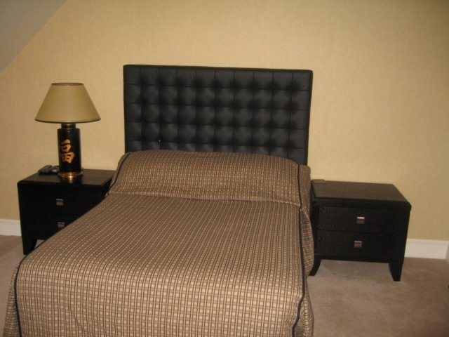 Black Crystal Button Leather Headboard