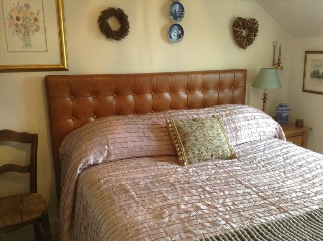 Tan Button Leather Headboard