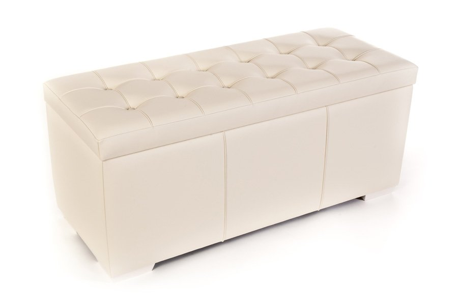 White Cream Real Genuine Leather Storage Chest Trunk Ottoman