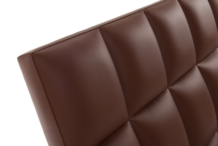 Brown Squares Real Genuine Leather Headboard