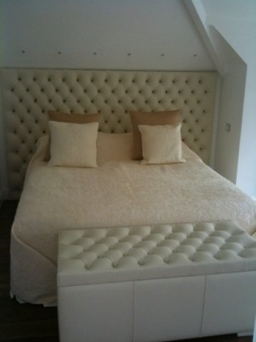 Studded Real Leather Headboard and Ottoman