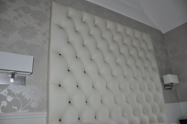 White Custom Bespoke Crystal Leather Headboard