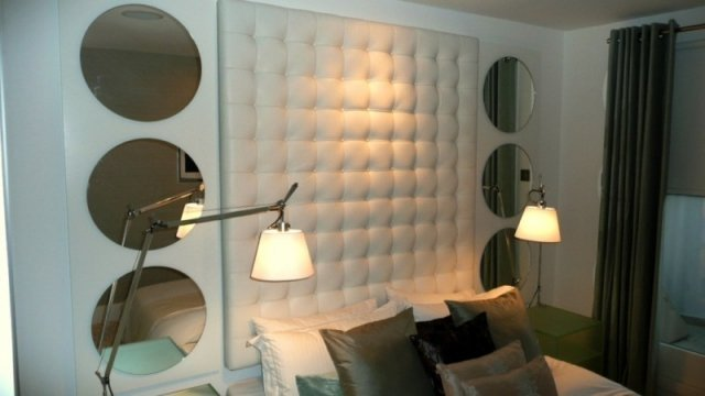 Wall Mounted White Leather Headboard