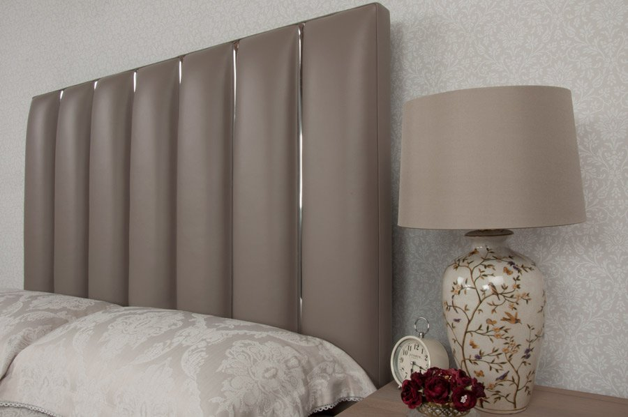 Taupe Chrome Flutes Real Genuine Leather Headboard