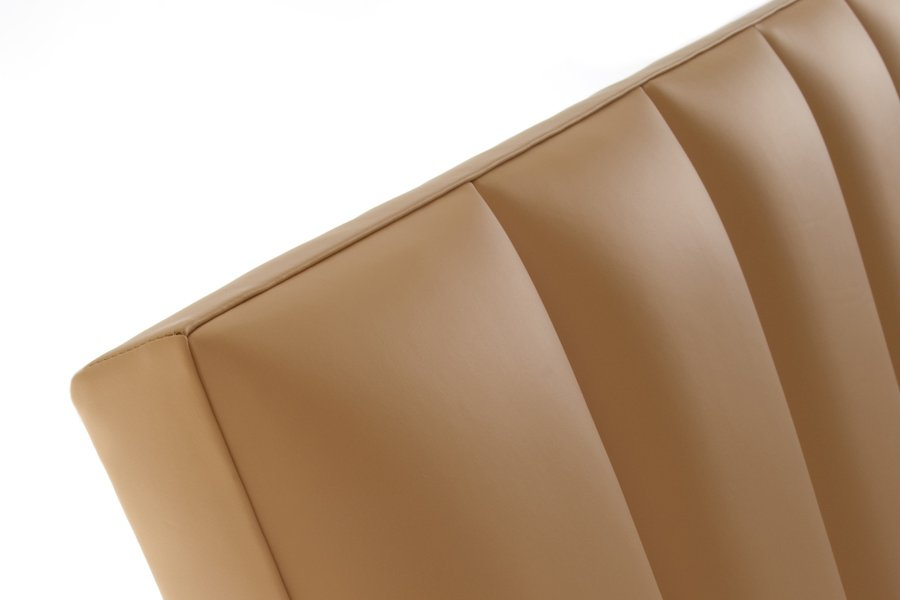 Beige Flutes Real Genuine Leather Headboard