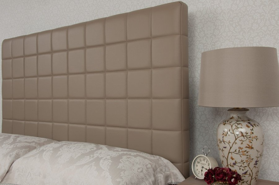 Beige Quilted Real Genuine Leather Headboard