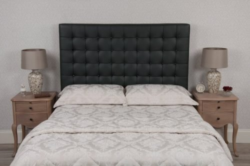 Grey Black Crystal Barcelona Tufted Buttoned Real Genuine Leather Headboard