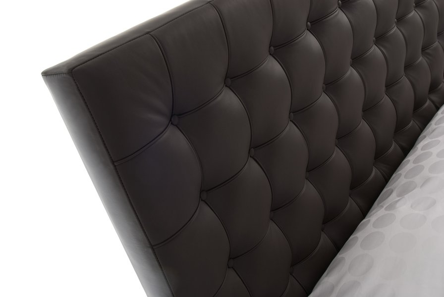 Brown Barcelona Tufted Buttoned Real Genuine Leather Headboard