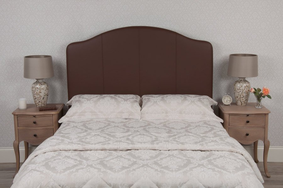 Brown Curvy Classic Real Genuine Leather Headboard