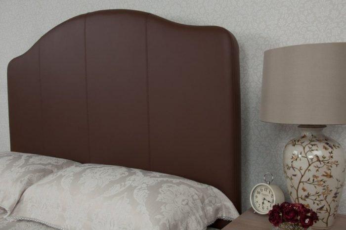 Brown Curvy Classic Real Genuine Leather Headboard