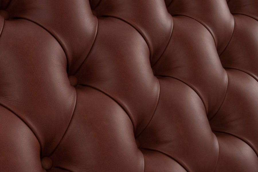 Brown Tufted Deep Buttoned Real Genuine Leather Headboard
