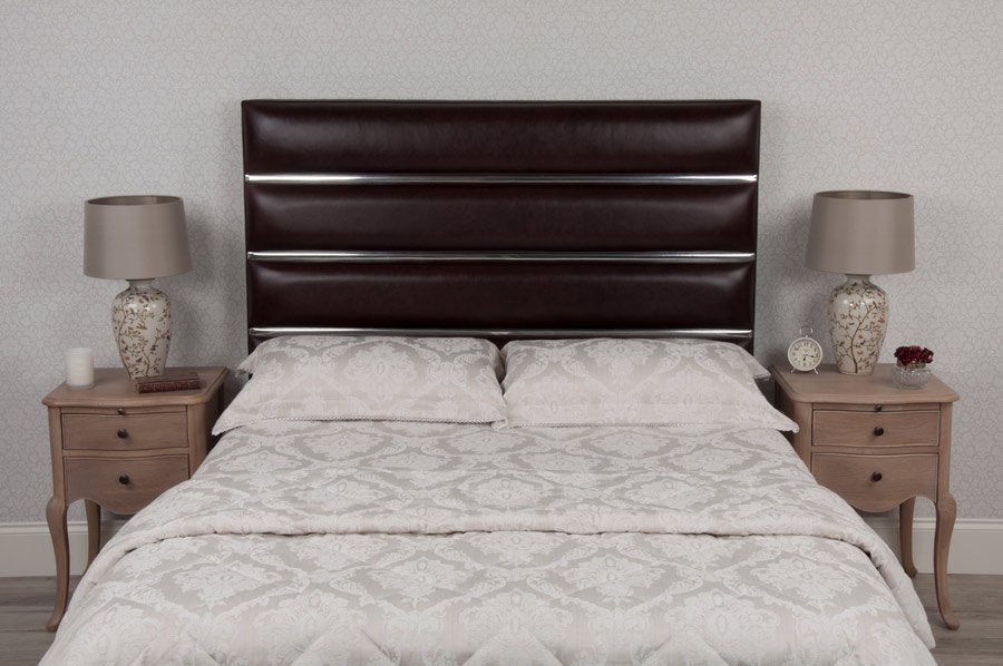 Chrome Tube Real Leather Headboard
