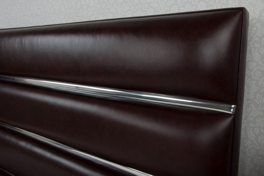 Dark Brown Tubes Chrome Real Genuine Leather Headboard