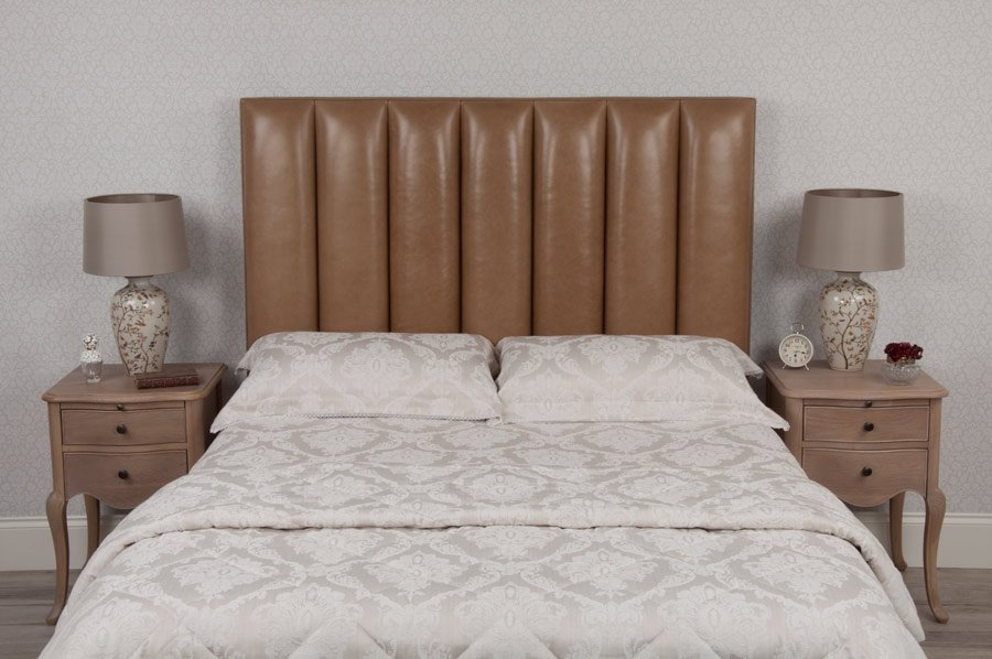Flutes Real Leather Headboard