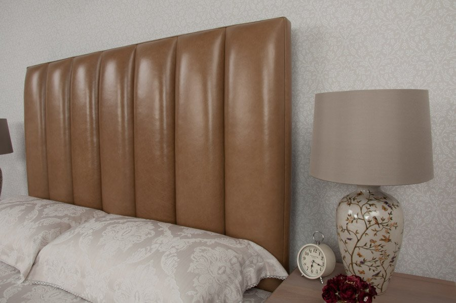 Cream Flutes Real Genuine Leather Headboard