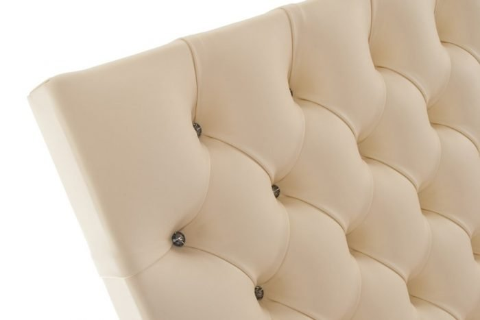Cream Tufted Deep Buttoned Crystal Real Genuine Leather Headboard