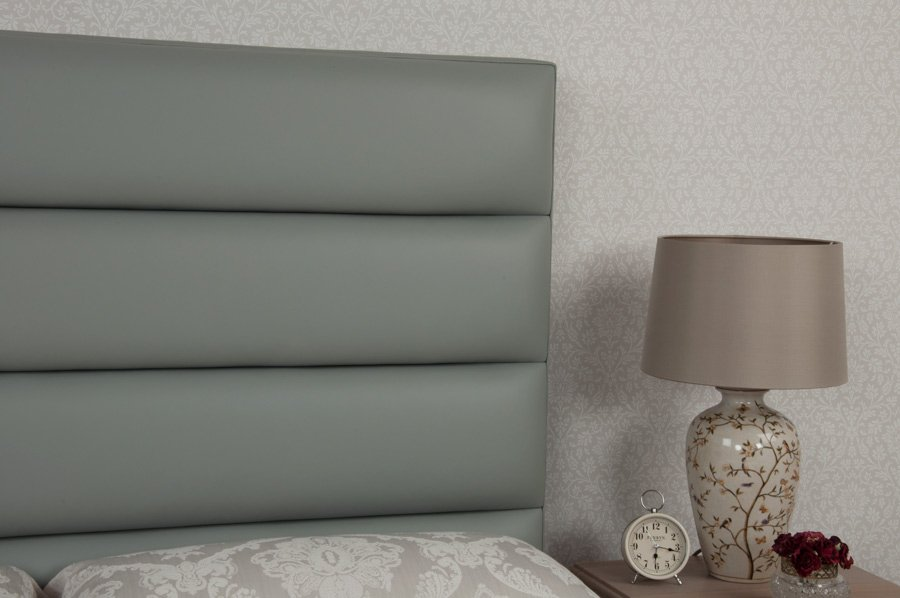 Teal Grey Tubes Real Genuine Leather Headboard