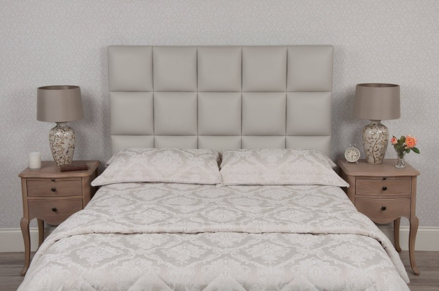 Light Pale Grey Squares Real Genuine Leather Headboard