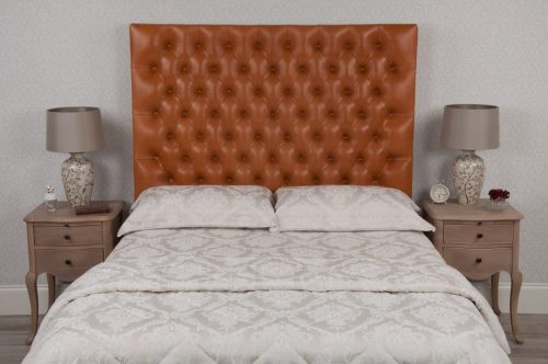 Tan Tufted Deep Buttoned Crystal Real Genuine Leather Headboard